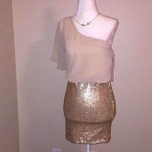 NWT, cocktail one shoulder dress size S